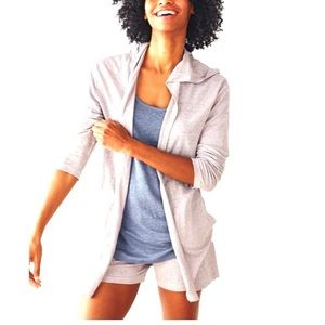 NWT Tahari White Linen Jersey Open Front Hoodie M